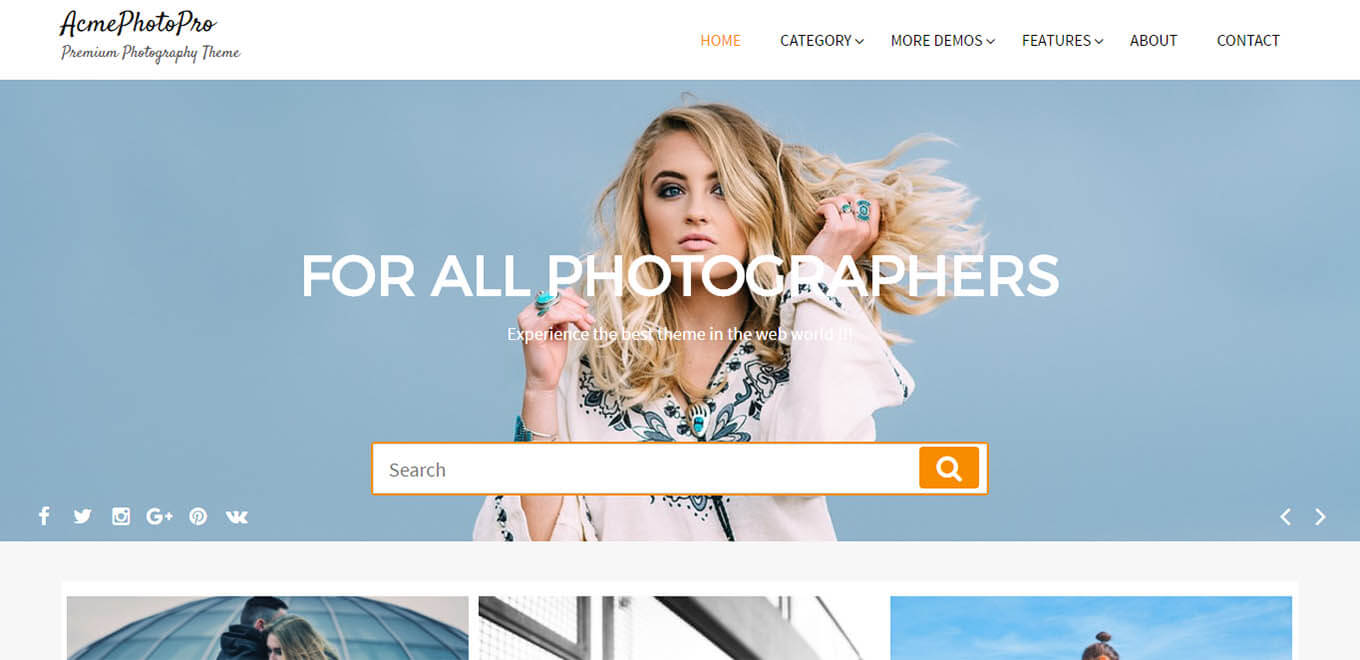 AcmePhotoPro – Premium Photography WordPress theme