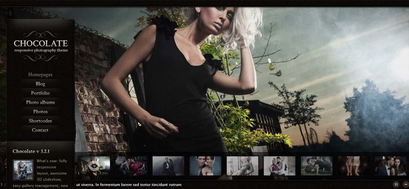 Chocolate WP WordPress photography theme