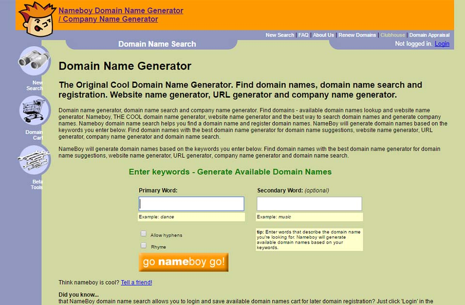 Cool Domain Name Generator Nameboy