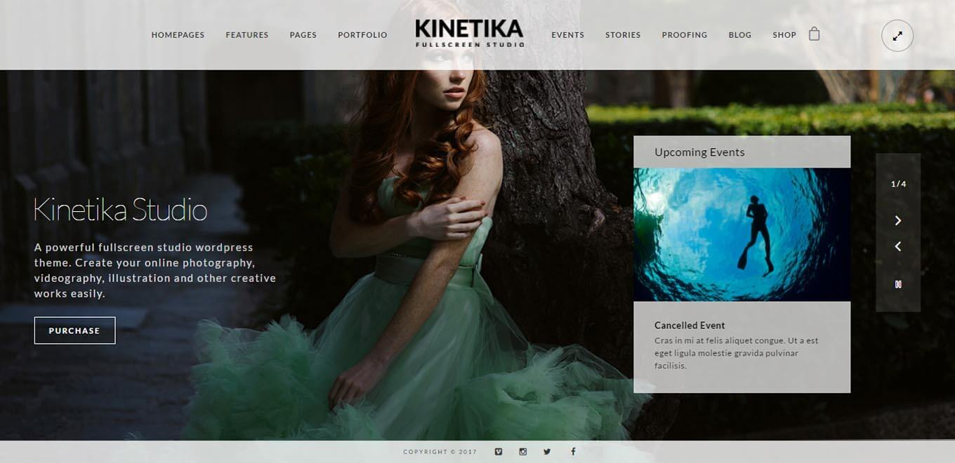 Kinetika Fullscreen Photography theme for WordPress