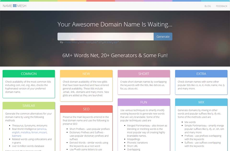 Name Mesh Domain Name Generator For Perfectionists