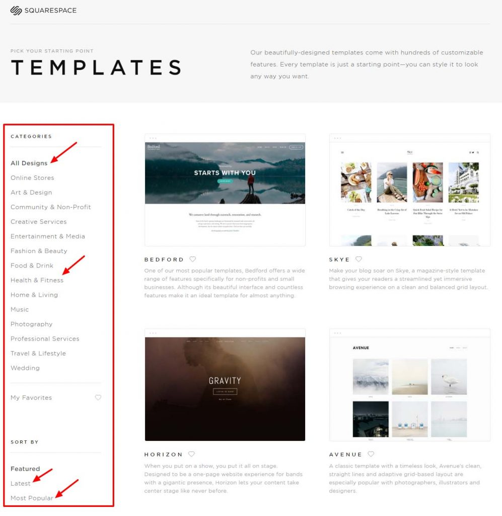 Squarespace Website Templates