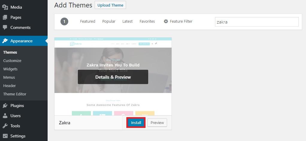 install zakra themegrill demo importer plugin