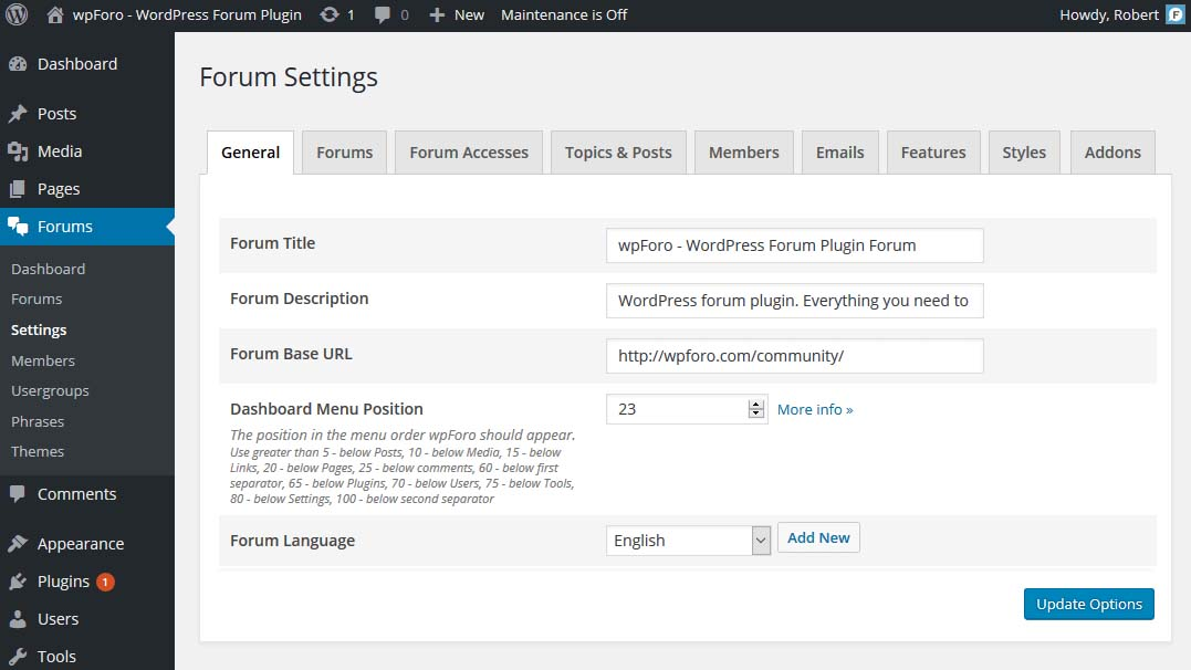 wpForo-wordpress-forum-eklenti-settings