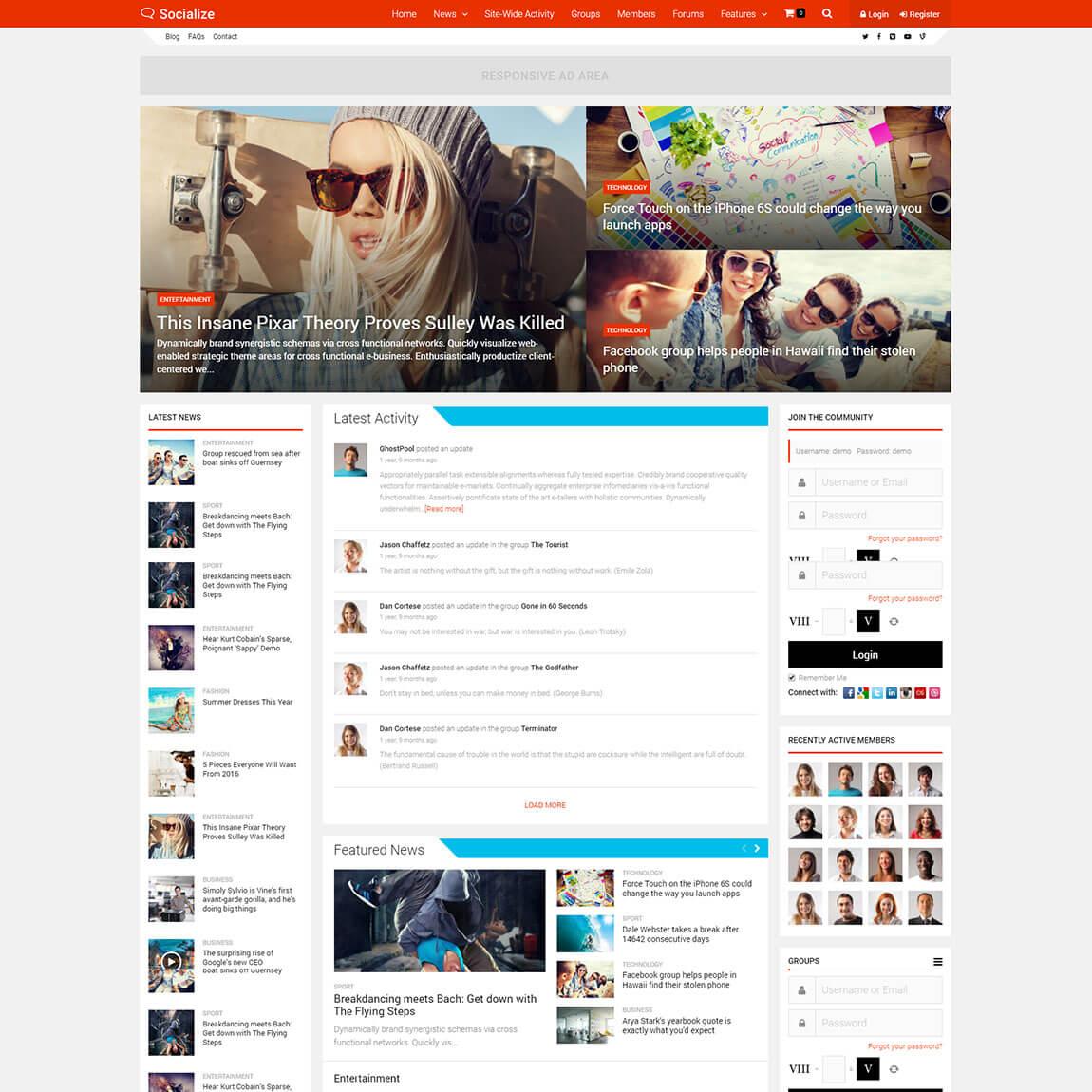 socialize-wordpress-community-buddypress-theme