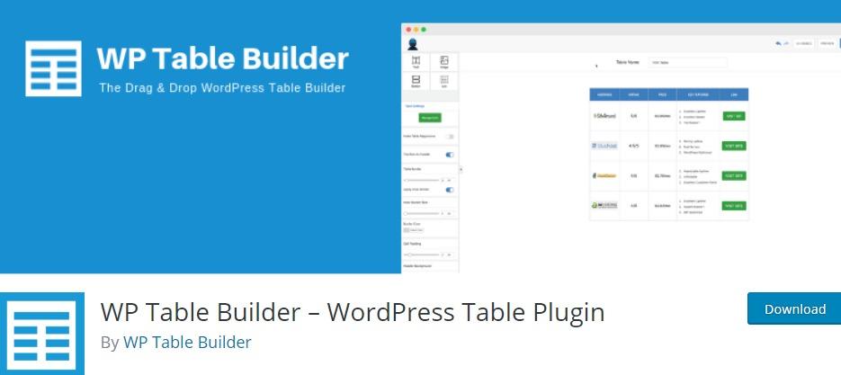 WP Table Builder - WordPress Table Plugin - WordPress Table Plugin