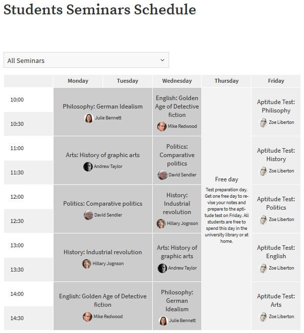 motopress-timetable-frontend-voorbeeld