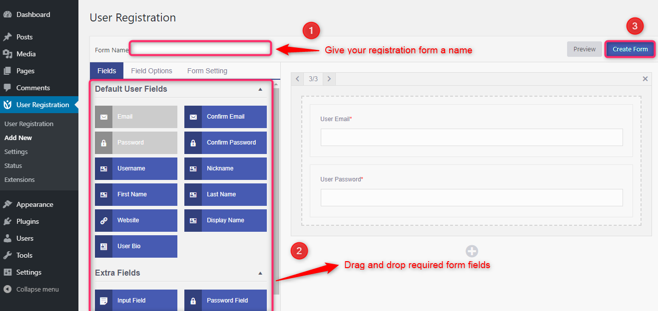 Drag and drop user registration