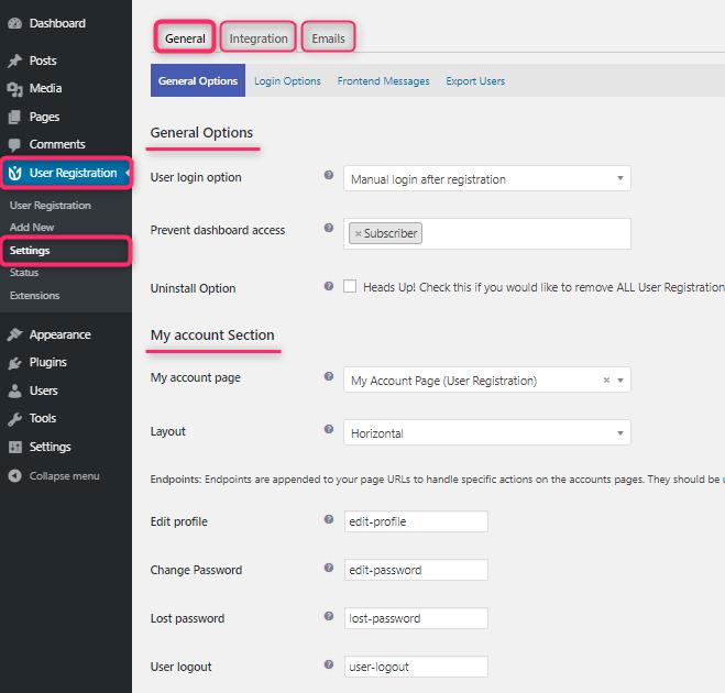 User Registration Plugin Settings
