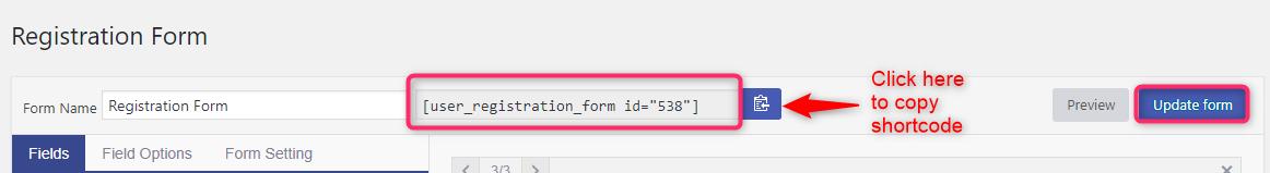 User Registration Shortcode