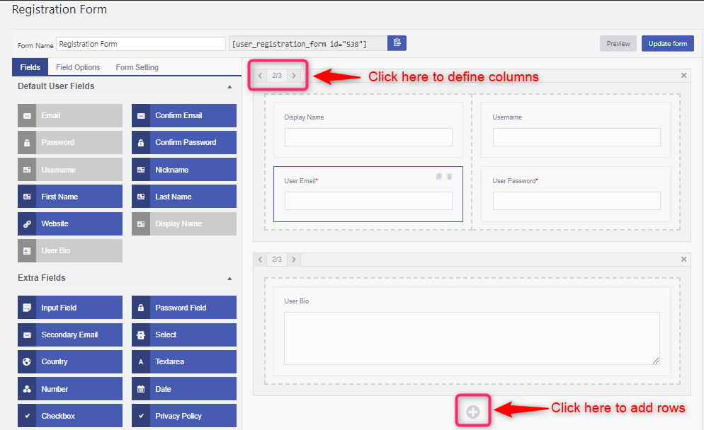 add rows and columns in user registration