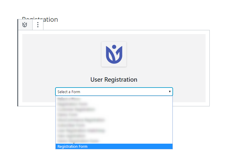select registration form