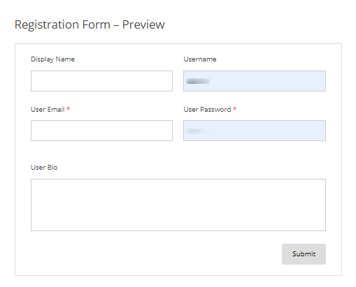 user registration preview