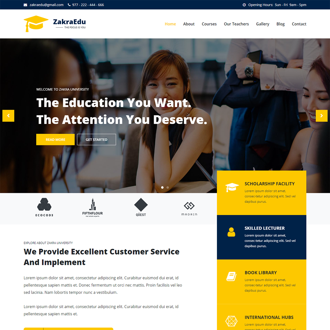 Zakra Education WordPress Theme