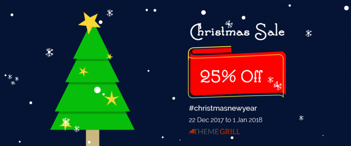 ThemeGrill Christmas Sale 2017 – Get 25% Discount on All of Our Premium WordPress Themes