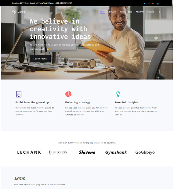 Zakra Business WordPress Theme