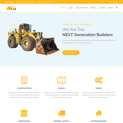 Zakra Construction WordPress Theme