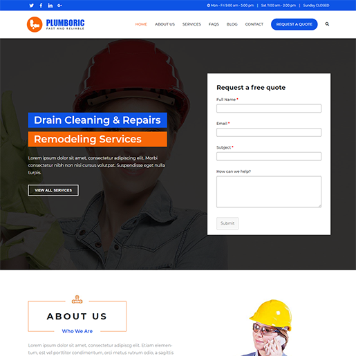 Zakra Plumber WordPress Theme
