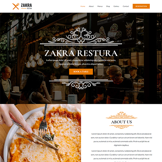 Zakra Restaurant WordPress Theme