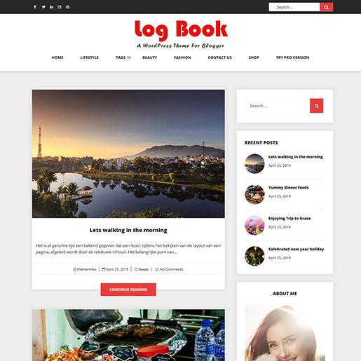 log book blogging wordpress theme