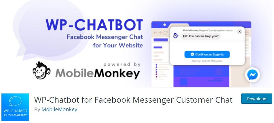 wpchatbot wordpress facebook plug-ins