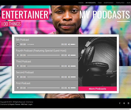 Entertainer-wp-podcast-theme