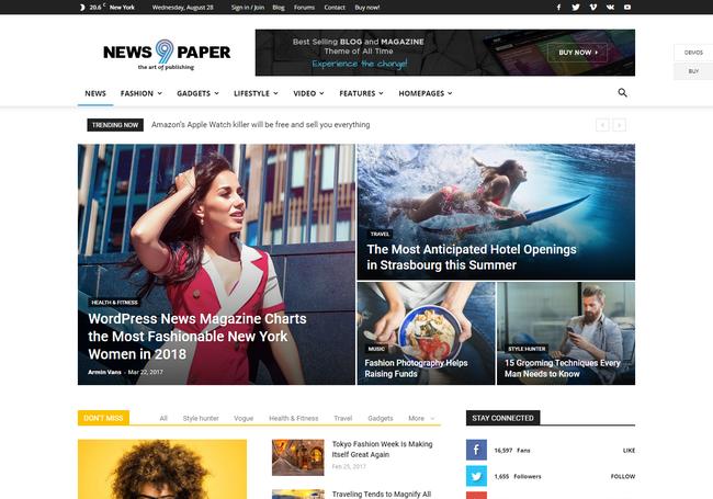 Newspaper Fastest WordPress Theme