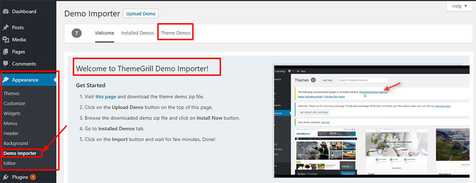 ThemeGrill-demo-importer-welcome-page