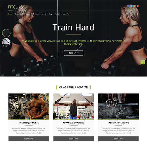 fitclub-responsive-wordpress-theme