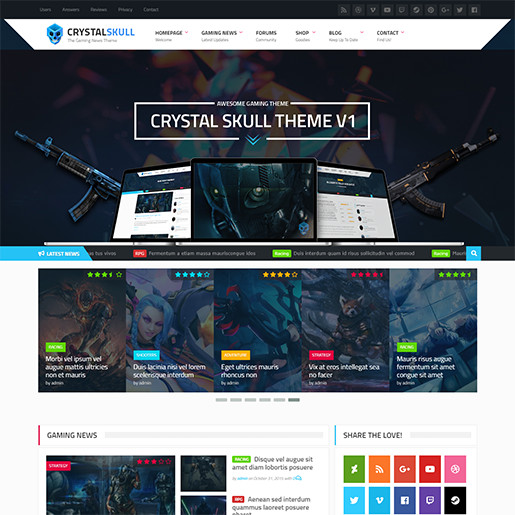 WordPress Gaming Themes CrystallSkull