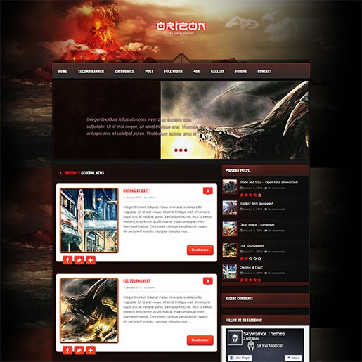 WordPress Gaming Themes Orizon