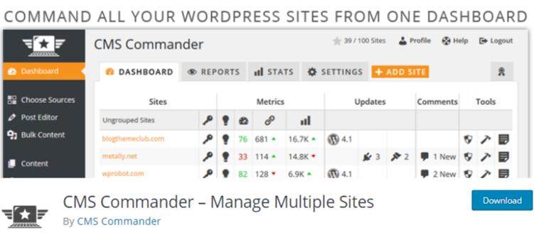 manage multiple WordPress sites plugin CMScommander