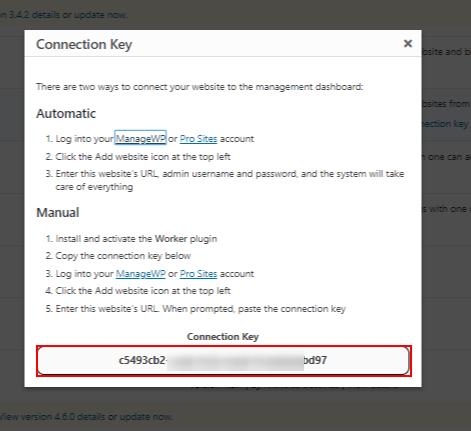 manage multiple WordPress sites Plugin manageWp connection key