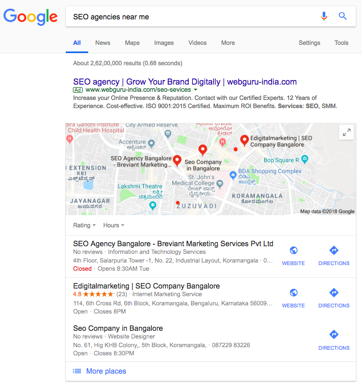 local SEO Audit google search results