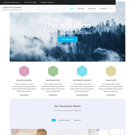 suffice pro premium wordpress business theme