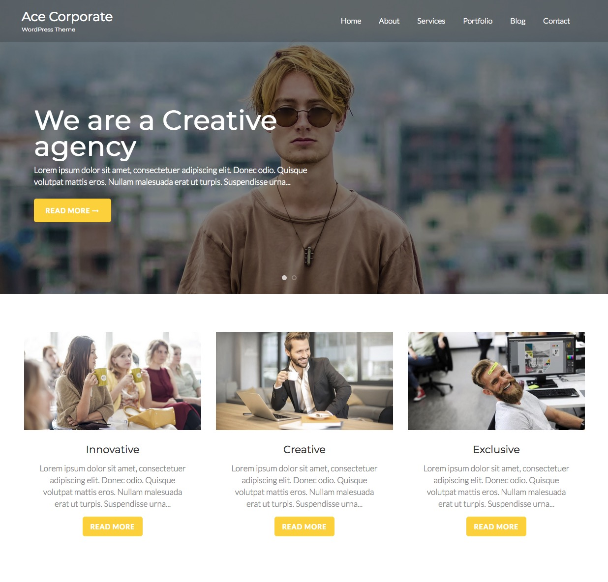 Ace Corporate best free wordpress multipurpose theme
