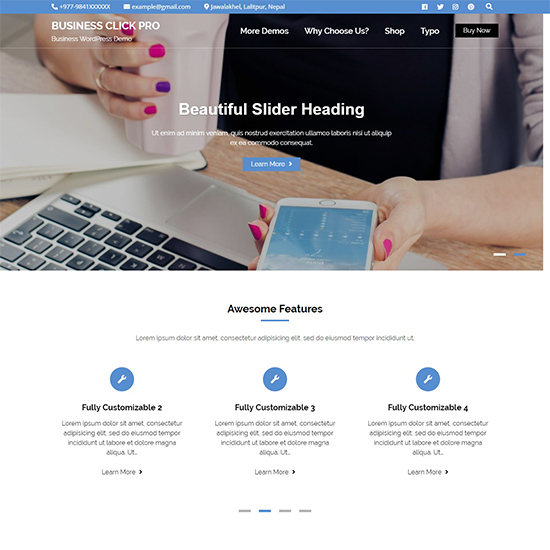business click pro premium wordpress business theme