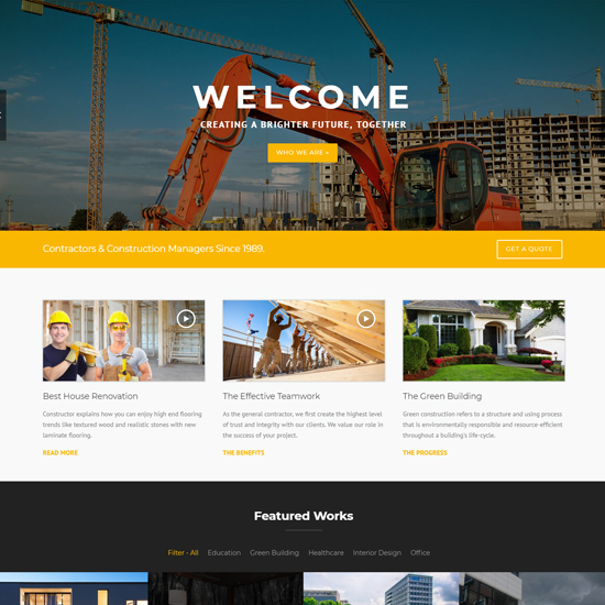 construction premium wordpress business theme