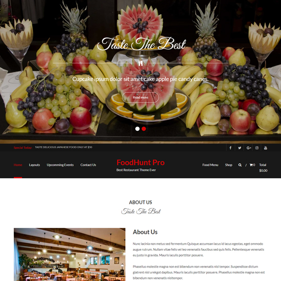 foodhunt pro premium wordpress business theme