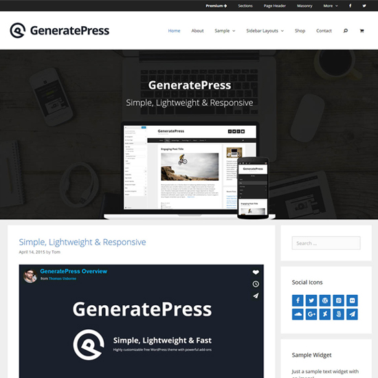 generatepress elementor theme