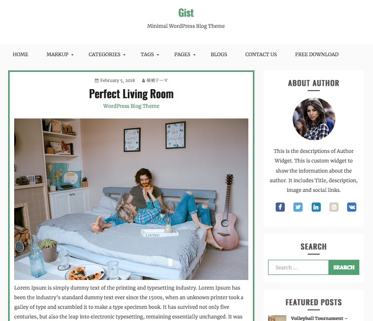 Gist Free WordPress theme