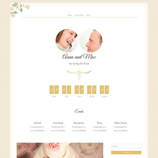newlyweds free event wordpress theme