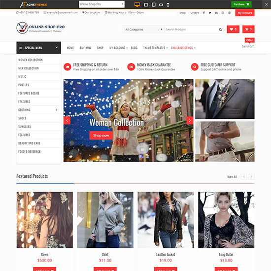 online shop pro premium wordpress business theme