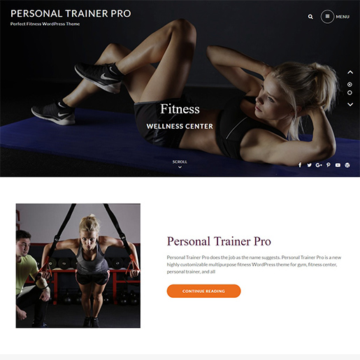 personal trainer pro premium wordpress business theme