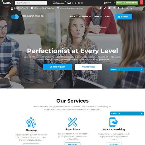 rara business pro premium wordpress business theme