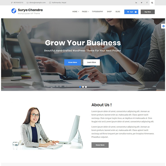 surya chandra premium wordpress business theme