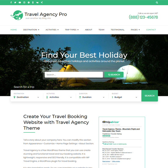 travel agency pro premium wordpress business theme