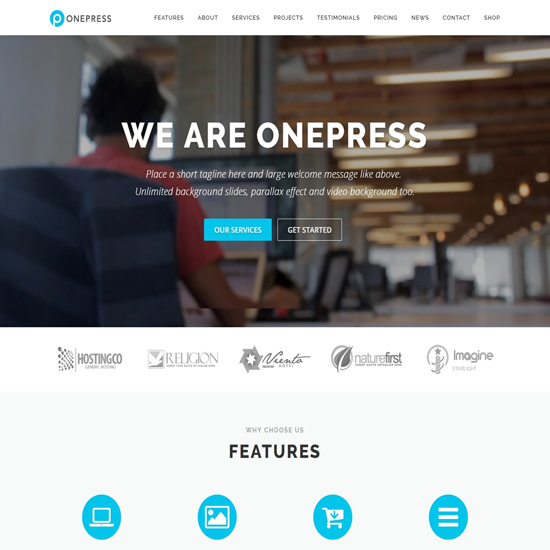 worpress business themes onepress plus
