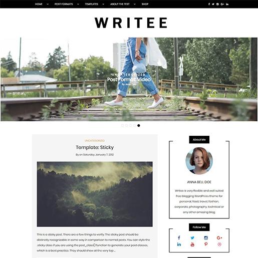 writee feminine free fashion wordpress theme