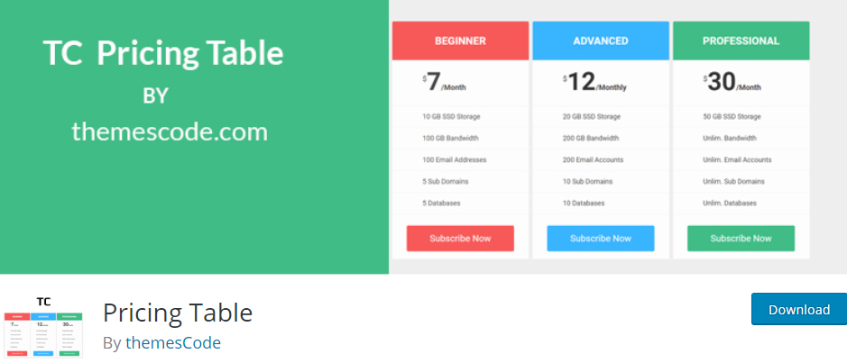 Pricing table themescode wordpress pricing table plugins
